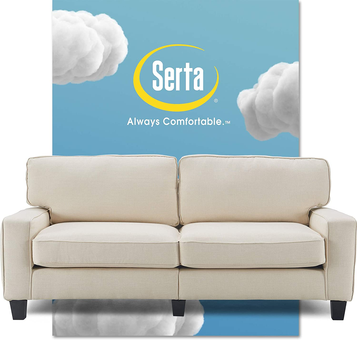 "Serta Palisades Upholstered Sofas for Living Room Modern Design Couch, Straight Arms, 78"", Buttercream"