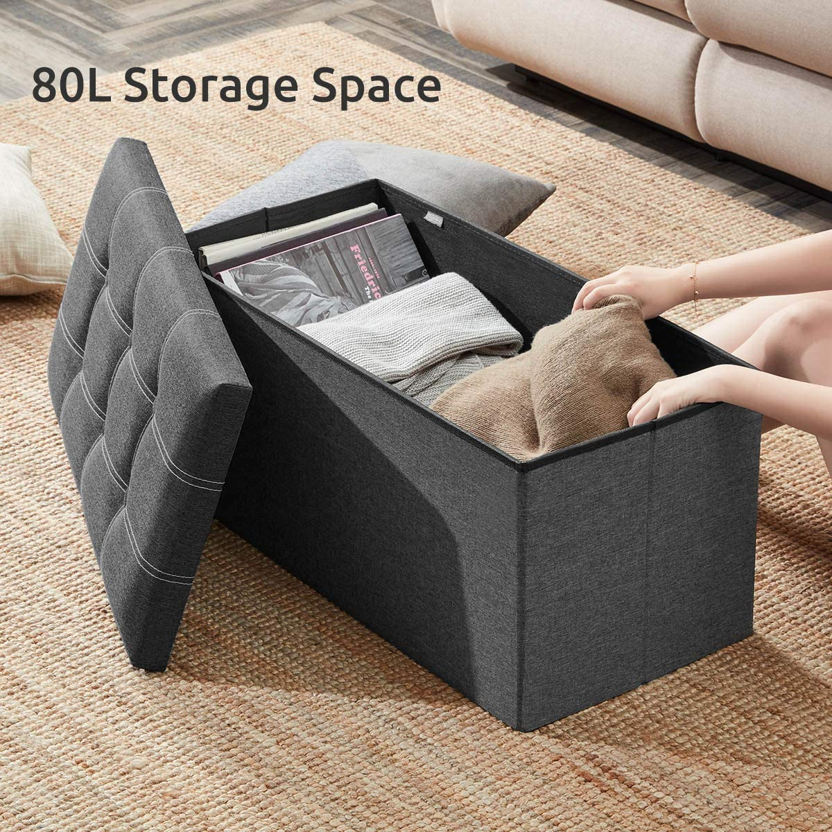 YOUDENOVA 30 inches Storage Ottoman Bench