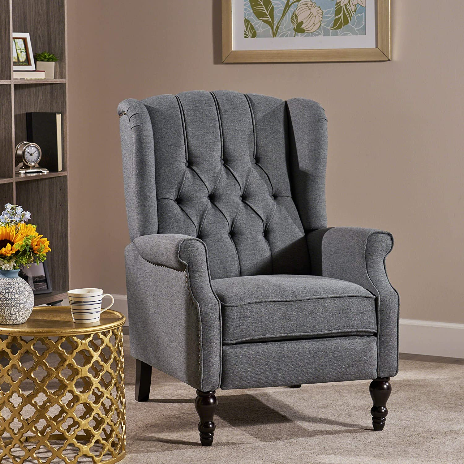GDF Studio Elizabeth Tufted Charcoal Fabric Recliner Arm Chair
