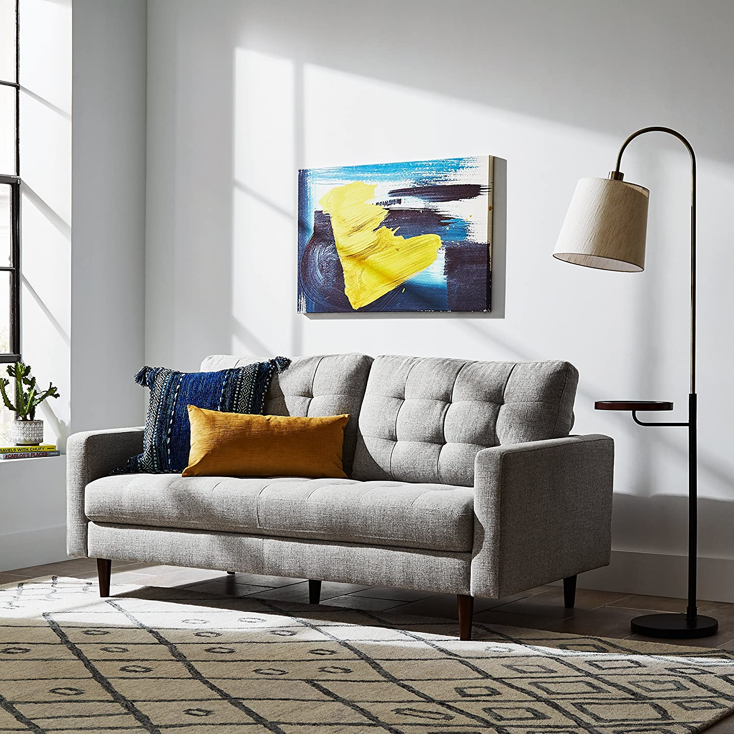 "Rivet Cove Mid-Century Modern Tufted Apartment Sofa, 72""W"